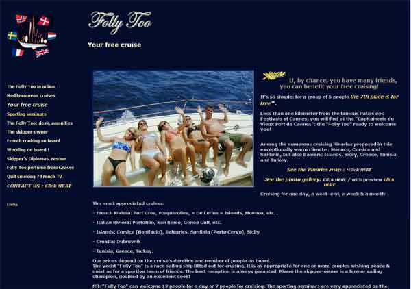 Site internet référencement : site du yacht Folly Too